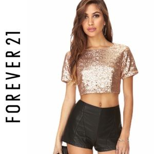 Forever 21 Gold Sequin Crop Top